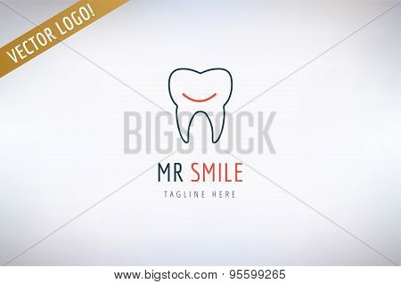 Tooth vector logo template. Health, medical and dentist symbol. Stock design element.
