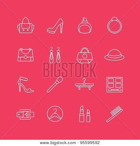 Womens clothes vector icons set. Cloth, girls and shop symbols. Stocks design elements
