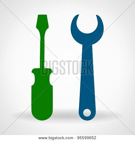 Tools - hammer and spanner symbol. Vector illustration.