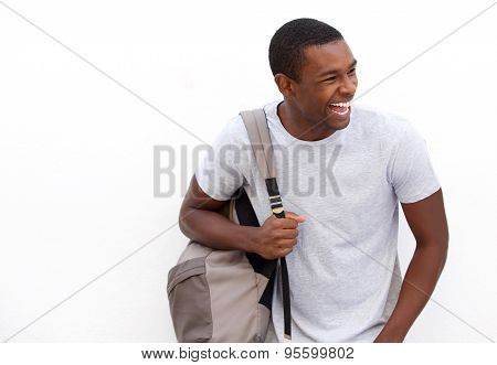 College Student Laughing With Bag
