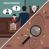 stock photo of proceed  - Judgment services and law proceedings corners set isolated vector illustration - JPG