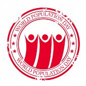 picture of population  - illustration of a grungy stamp for World Population Day - JPG