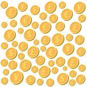 image of yen  - Falling coins background - JPG