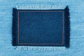 pic of denim jeans  - Frame of denim with fringe with place for your texton jeans background - JPG