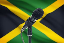 foto of jamaican flag  - Microphone with national flag on background series  - JPG