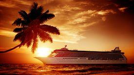 stock photo of passenger ship  - Yacht Cruise Ship Sea Ocean Tropical Scenic Concept - JPG