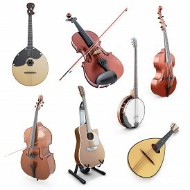 foto of banjo  - Set of string musical instruments isolated on white background - JPG