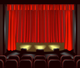 stock photo of movie theater  - an empty theatre stage for you to place what you like on - JPG