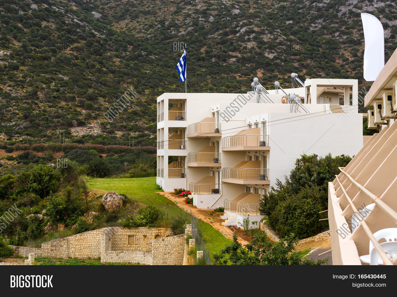Modern Greek architecture new white building in constructivist ...