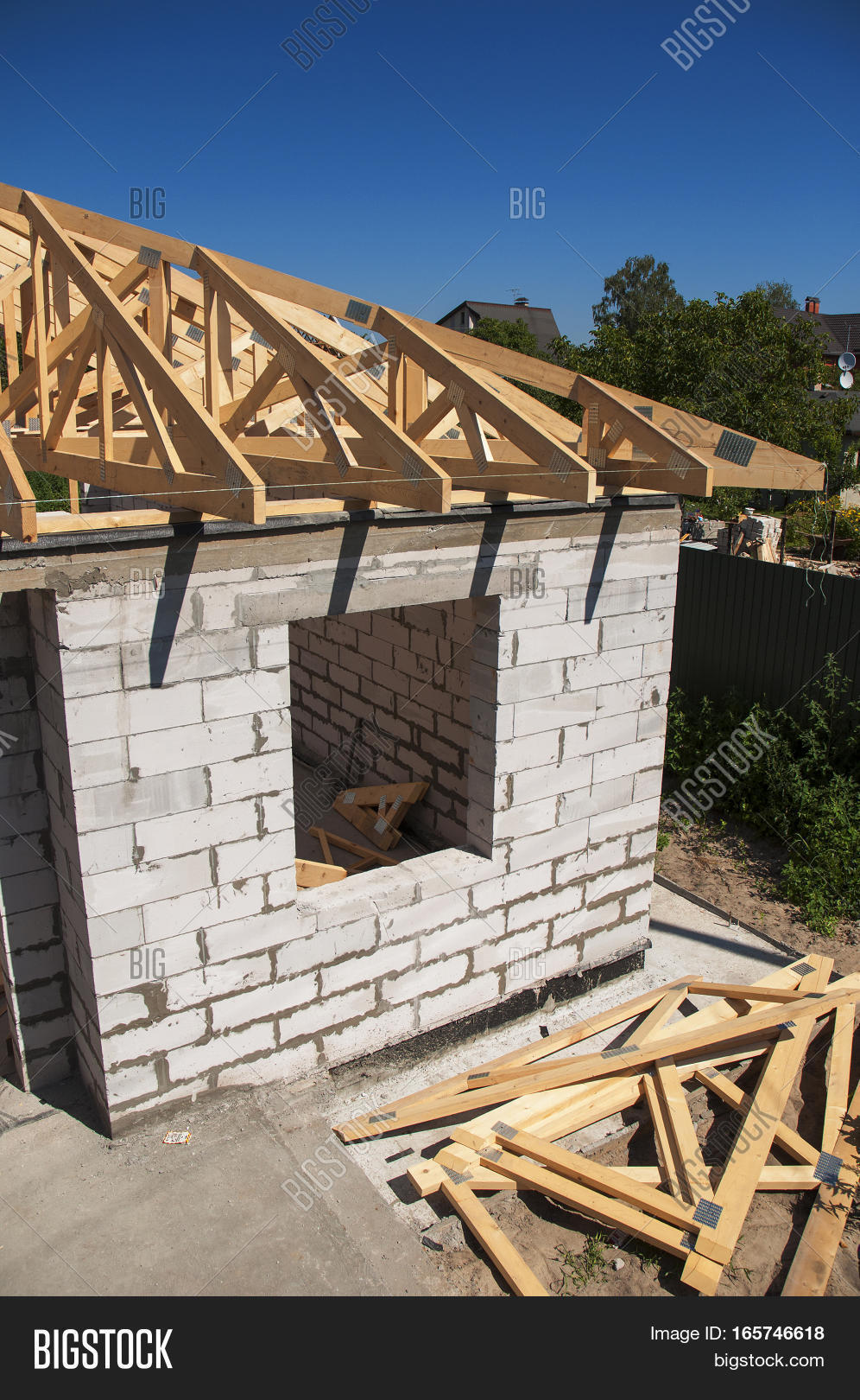 Roofing Construction. Roofing House Construction With Autoclaved Aerated  Concrete (AAC) Also Known As