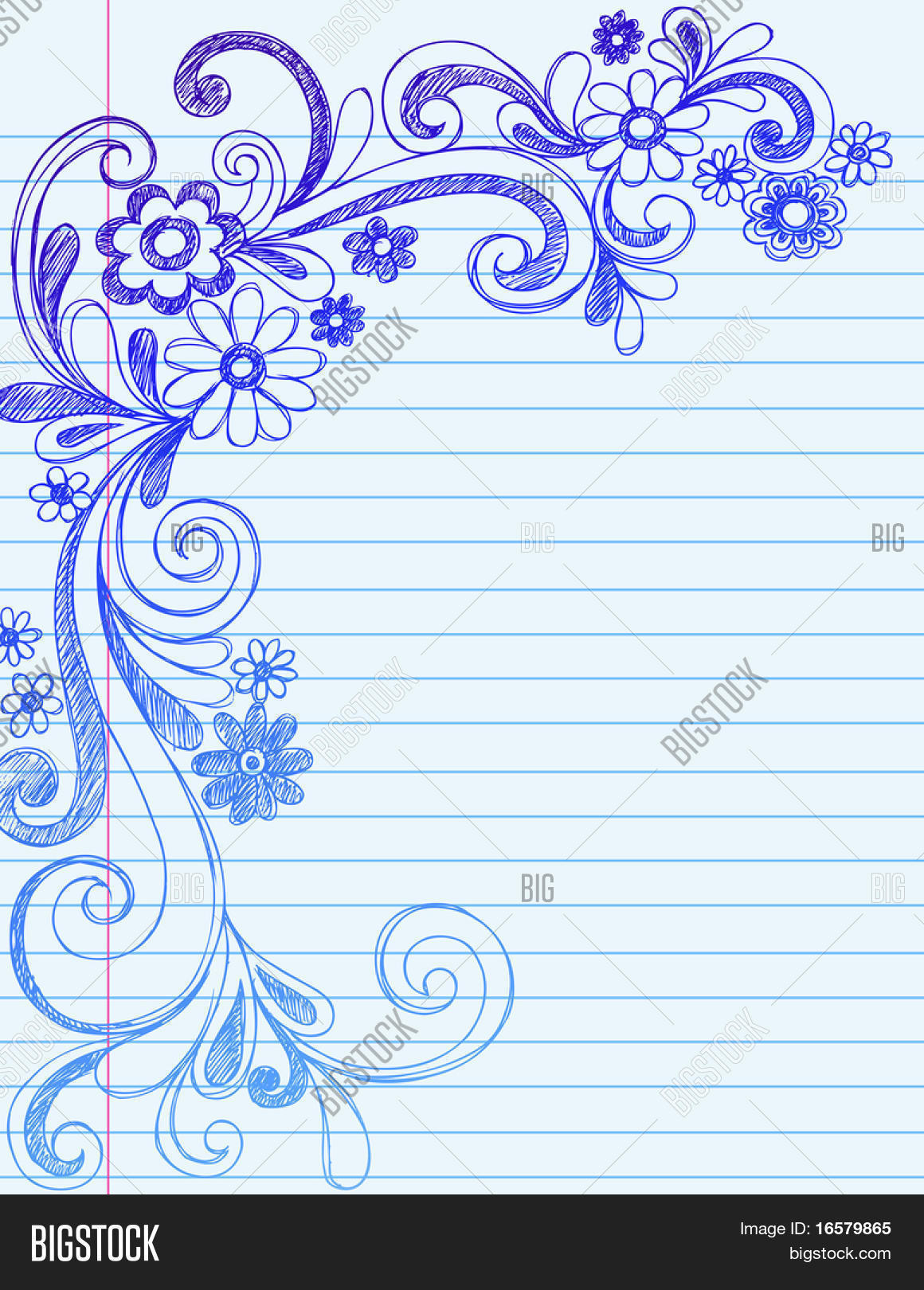 HandDrawn Flower Border Doodles on Lined Notebook Paper Vector – Lined Border Paper