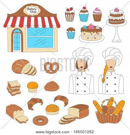 Bakery collection with female bakers in chief uniforms, bakery shop and fresh pastry collection with various sorts of breads and cakes. Hand drawn doodle style vector illustrations isolated on white.