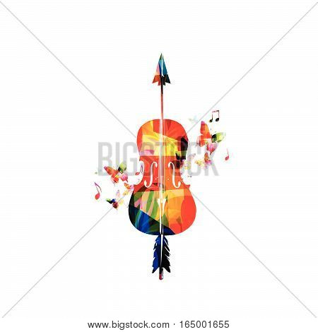 Colorful violoncello with music notes vector illustration. Music instrument background. Cello with arrow design for poster, brochure, invitation, banner, flyer, concert and festival