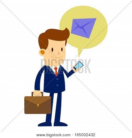 Vector stock of a businessman checking email on a mobile phone while holding a briefcase