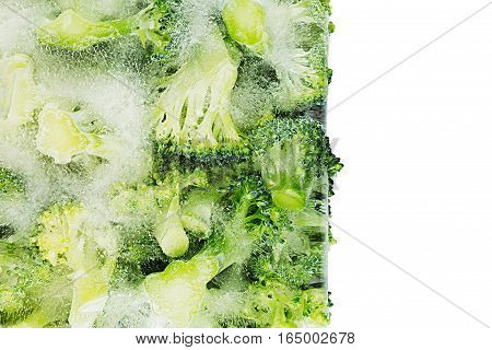 Border of fresh frozen green broccoli in ice closeup on white background. Isolated. Healthy vitamin food.