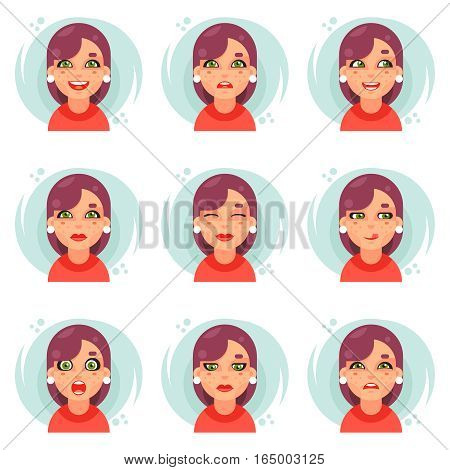 Funny emotions cute girl avatar and icons set flat design vector illustration