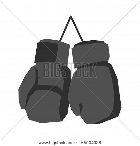 Black Boxing Gloves Retro Isolated. Vintage Sports Accessories On White Background