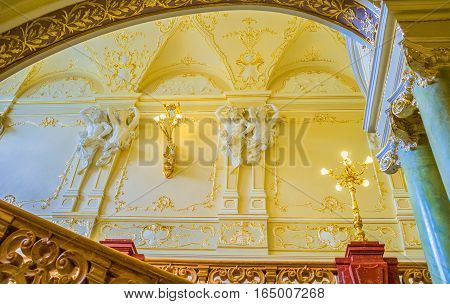 ODESSA UKRAINE - MAY 17 2015: The richly decorated interior of the Opera House shows city wealth in its golden age on May 17 in Odessa.