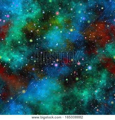 Abstract colorful glittering universe.  Nebula night starry sky. Multicolor outer space. Galactic texture background. Seamless illustration.