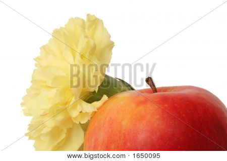Flower And Red Apple