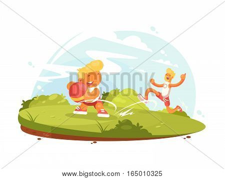Father and son play with ball on green lawn. Vector illustration