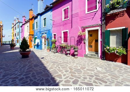Burano island with traditional colorful houses, Venice, Italy