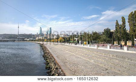 Baku, Azerbaijan - October 18, 2014: Panoramic view of Baku - the capital of Azerbaijan located by the Caspian See shore.