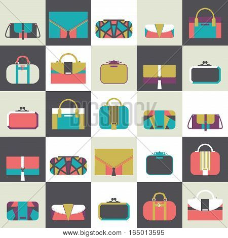Seamless pattern with fashion bags and clutches in various shapes and sizes. Geometric vector illustration based on dark and white squares and women bags. Bright stylish design for fashion purposes.