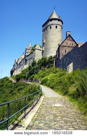 View of the facade fairytale castle Altena (Sauerland, Germany)