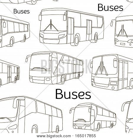 Vector pattern of different bus or van icons. All vector objects are isolated. Vector illustration, EPS 10