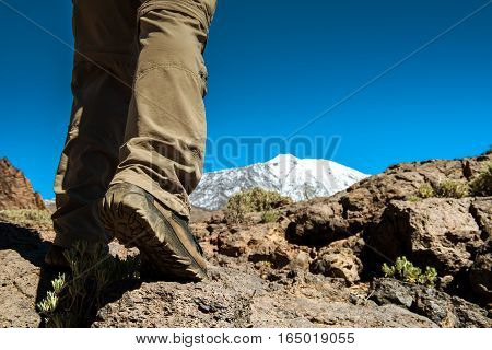 sport man on top of mountain, achievement success healthy lifestyle, Teide Tenerife