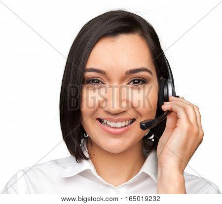 Closeup of a Female Phone Operator in Headset
