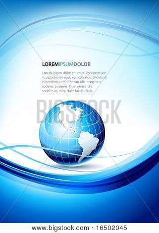 Elegant Design Template With 3D Earth Globe Icon