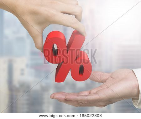 Woman Hand Giving Percentage Sign To Man Hand
