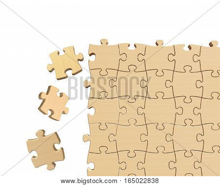 Wooden Puzzles Wall With Some Pieces Falling
