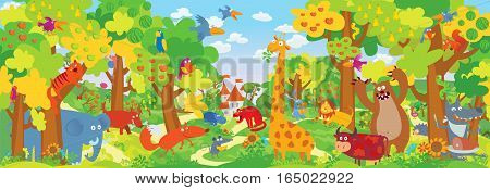 Cute zoo animals. Forest and Jungle. Vector illustration