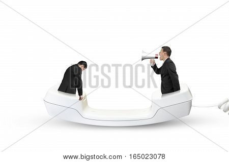 Boss Using Speaker Yelling At Employee With Telephone Handset