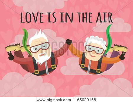 Grandparents skydive. lovers holding hands. love is in the air