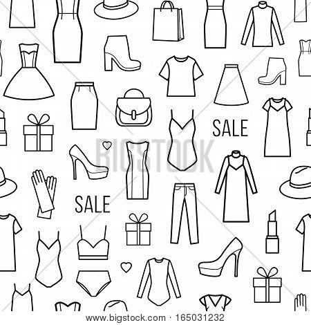 Vector seamless pattern of women's clothing and accessories