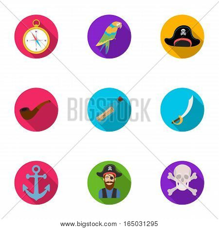 Pirates set icons in flat design. Big collection of pirates vector symbol stock illustration