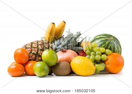 Stack Of Fruits Isolated On White Background