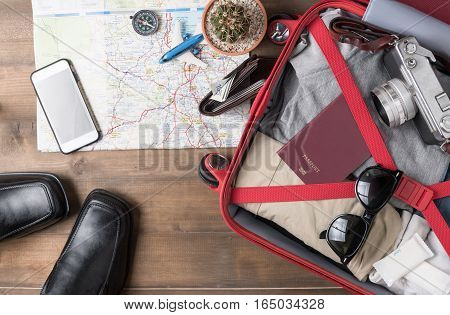 Travel Accessories Costumes. Passports, Luggage, Camera, Sunglasses And Shoe