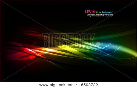 Abstract Vector Background - Transparent Lights and Wavy Foliage Decorations