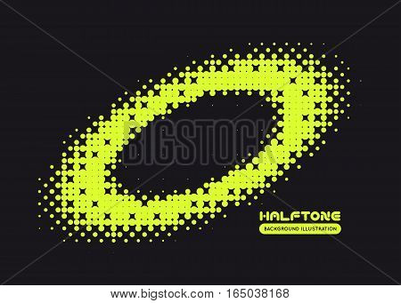 Halftone illustration. Black and green vector background