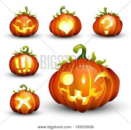 Spooky Vector Pumpkin Set - Different Facial Expressions - EPS10 Compatible