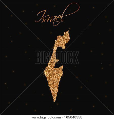 Israel Map Filled With Golden Glitter. Luxurious Design Element, Vector Illustration.