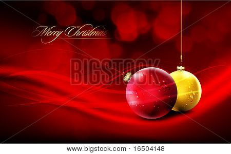 Vector Christmas Card | Deep Red Background