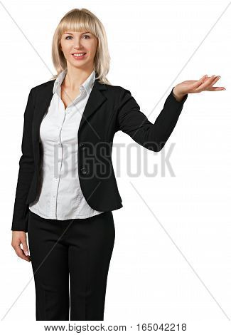 Woman holding out one arm to display something