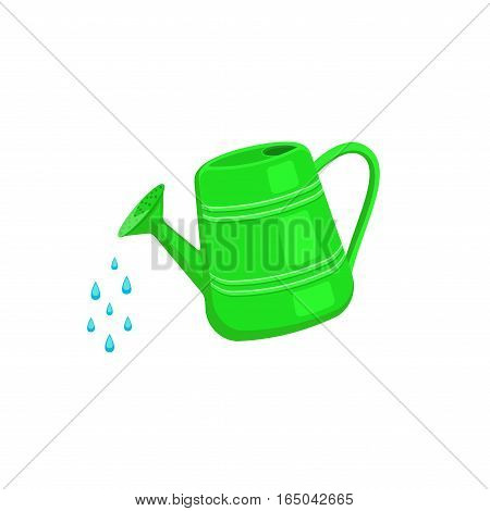 Watering can icon isolated on white background. Garden tools. Watering can sprays drops of water.
