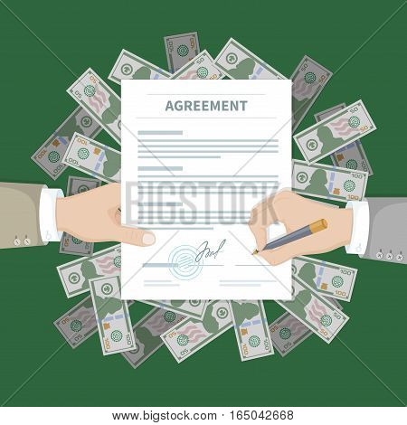 Two businessman signing an agreement. Successful financial partnership, teamwork concept. Hand holds the form of document on a pile of money. Conclusion of a contract. Top view. Vector illustration.